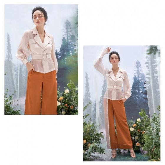 Áo kiểu lụa, tơ màu be HeraDG - WAK19011