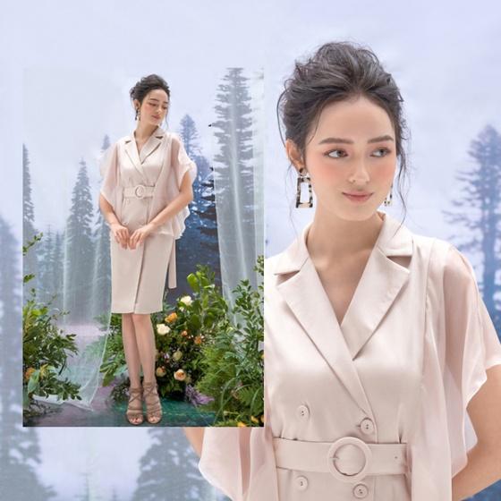 Đầm lụa, tơ màu be HeraDG - WDP19021