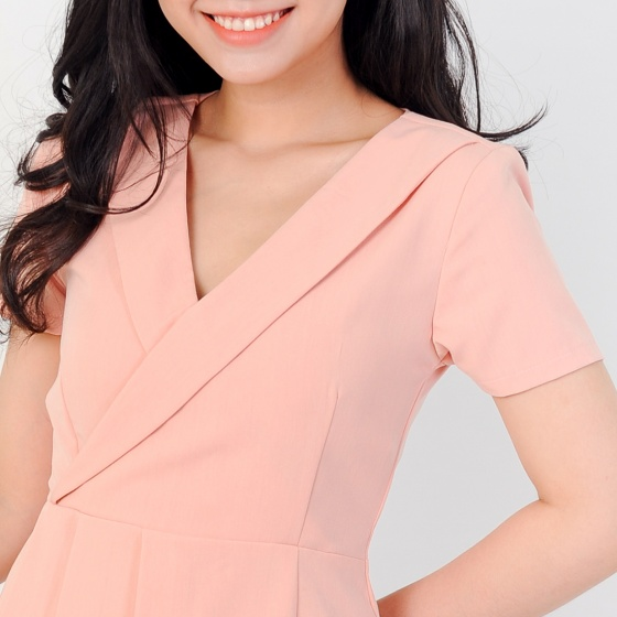 Đầm công sở thời trang Eden cổ vest tà xéo xếp li - D382