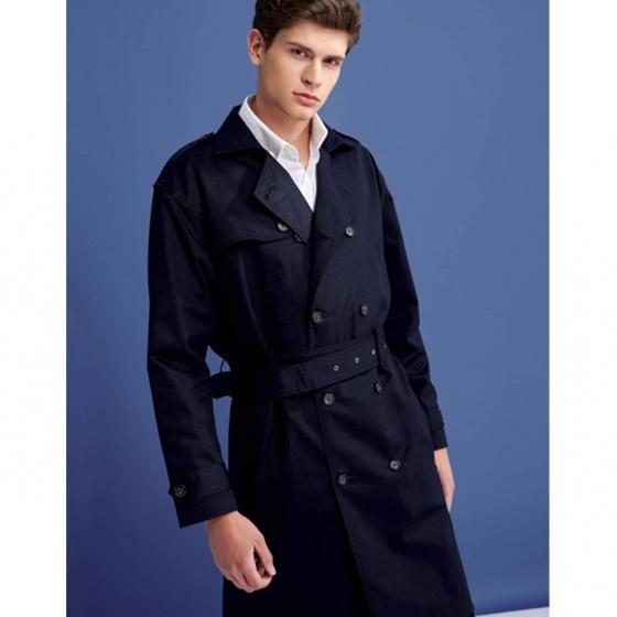 Áo khoác nam The Cosmo Henry Trench Coat màu xanh navy TC1023059NA