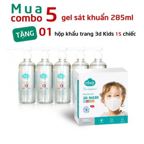 Mua 05 Gel sát khuẩn 285ml tặng 01 hộp 15 chiếc khẩu trang 3D trẻ em