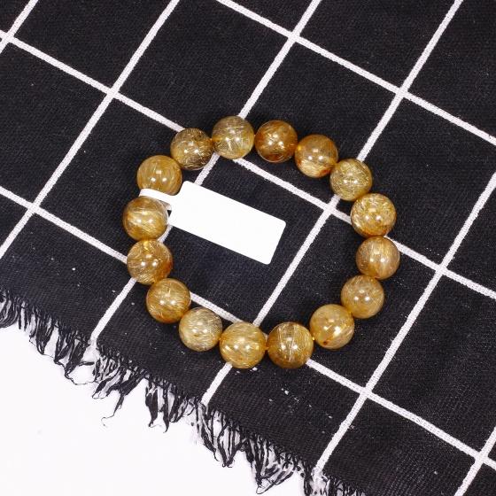 Vòng tay đá thạch anh tóc vàng AAA size hạt 12mm mệnh thủy, kim - Ngọc Quý Gemstones