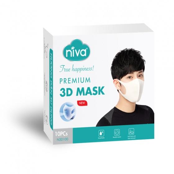 Hộp 10 chiếc khẩu trang 3D Niva cao cấp người lớn- kháng khuẩn, chống bụi bảo vệ sức khỏe [QC-Vneshop]