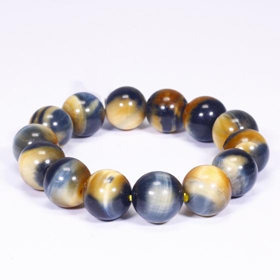 Vòng tay đá mắt hổ vàng xanh size hạt 14mm mệnh thổ, kim - Ngọc Quý Gemstones