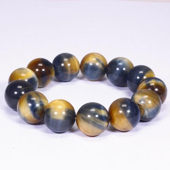 Vòng tay đá mắt hổ vàng xanh size hạt 16mm mệnh thổ, kim - Ngọc Quý Gemstones
