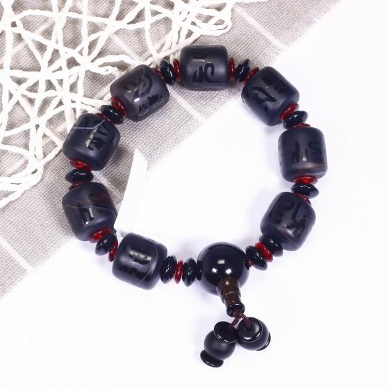 Vòng tay đá mã não đen khắc lục tự minh chú mệnh thủy, mộc - Ngọc Quý Gemstones