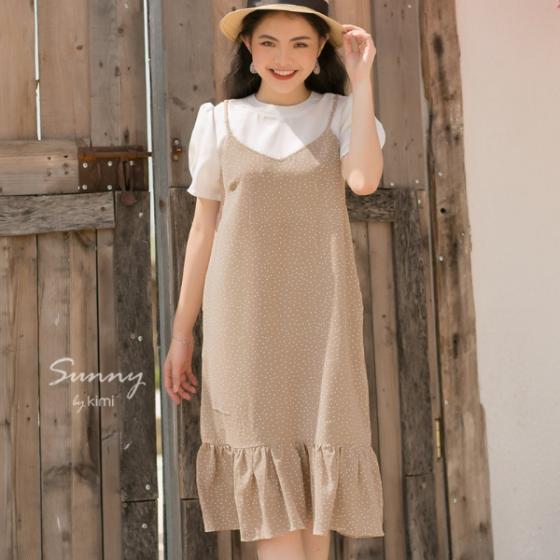 Đầm bi phối trắng tay dài kimi - AD190185
