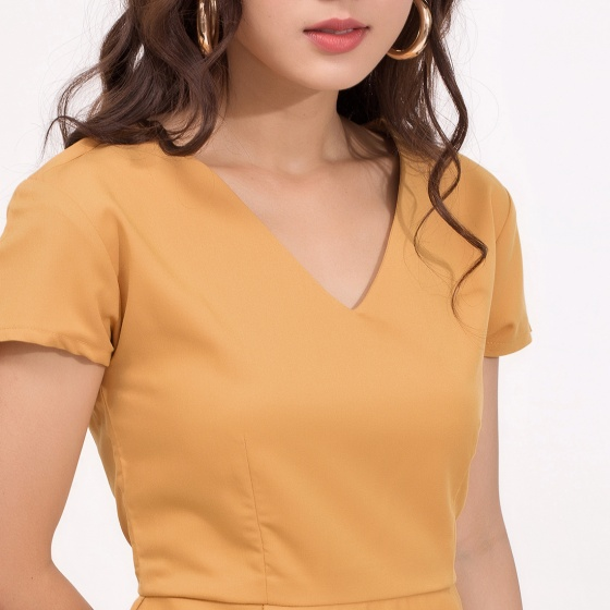 Đầm peplum công sở thời trang eden cổ tim - D371