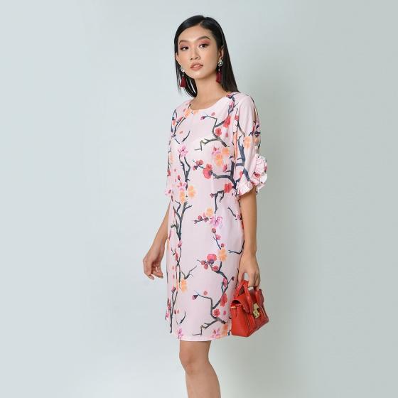 Đầm suông thời trang Eden tay cách điệu in họa tiết