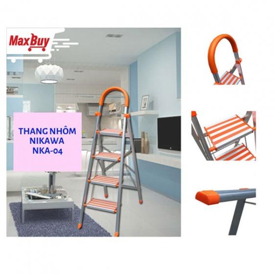 Thang nhôm ghế 4 bậc Nikawa NKA-04 bản bậc rộng có tay vịn chắc chắn