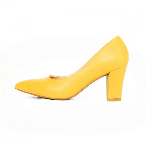 Giày cao gót thời trang mũi nhọn đế vuông cao 7cm Erosska basic - EP001 (GR)