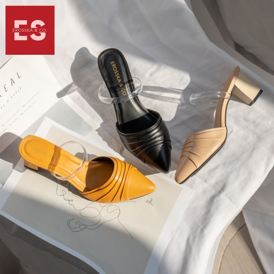 Dép nữ, dép cao gót thời trang Erosska bít mũi quai trong phối họa tiết đơn giản cao 5cm EH030 (màu nude)