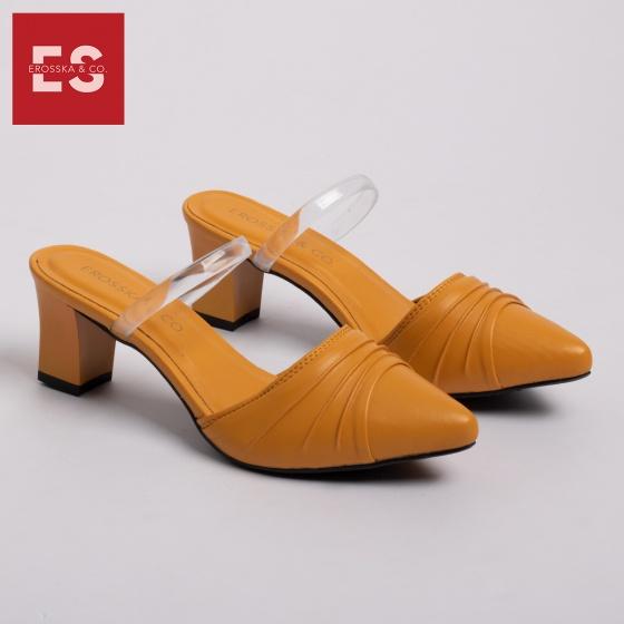 Dép nữ, dép cao gót thời trang Erosska bít mũi quai trong phối họa tiết đơn giản cao 5cm EH030 (màu vàng)