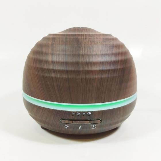 Máy khuếch tán bí tròn vân gỗ tối FX2037 + Tinh dầu sả chanh + Tinh dầu bưởi chùm Lorganic (10mlx2) [QC-Vneshop]