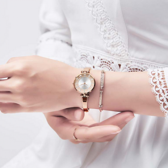 Đồng hồ nữ JA-1228A Julius Hàn Quốc dây thép (đồng mặt trắng)