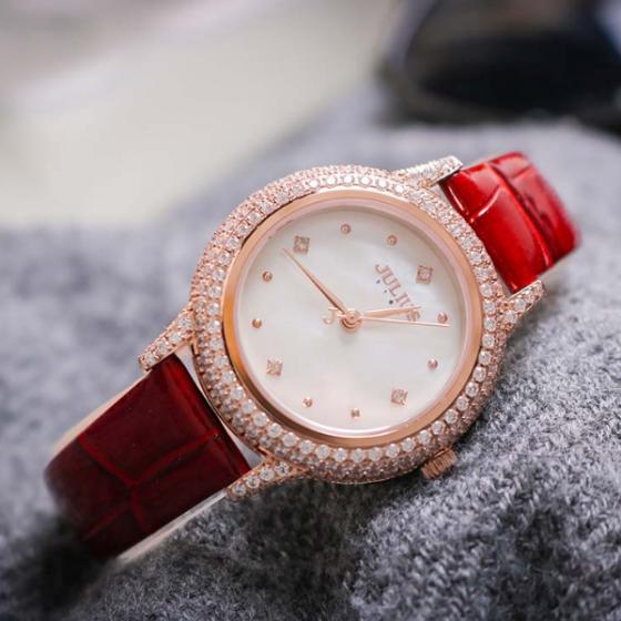 Đồng hồ nữ dây da mặt kính saphire chính hãng Julius Star Hàn Quốc JS-044B Đỏ