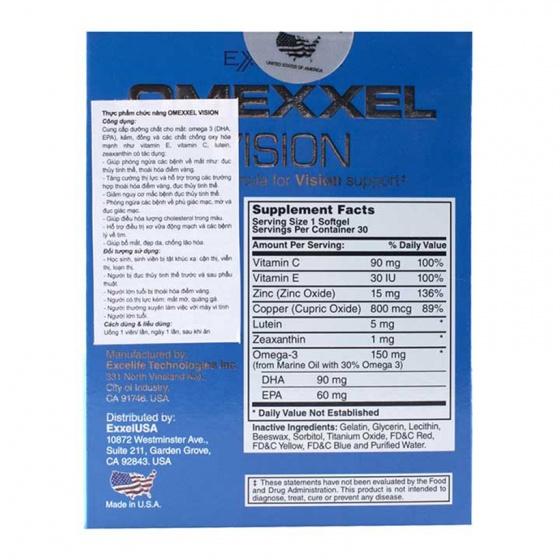 Viên uống bổ mắt Omexxel Vision (Hộp 30 viên) - xuất xứ Mỹ