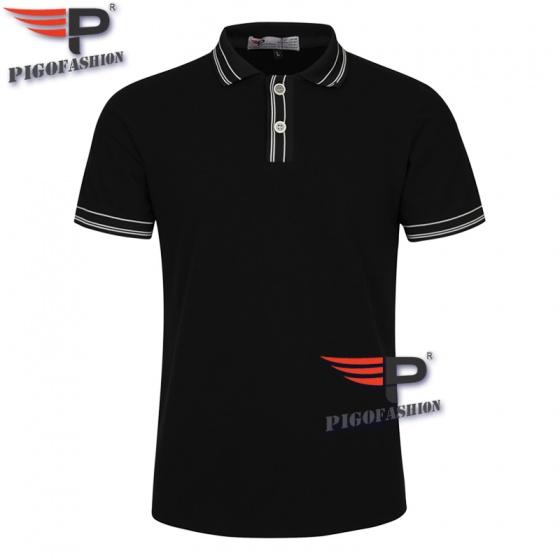 Áo thun nam cổ bẻ thời trang phong cách đơn giản chuẩn pigofashion aht22 màu đen