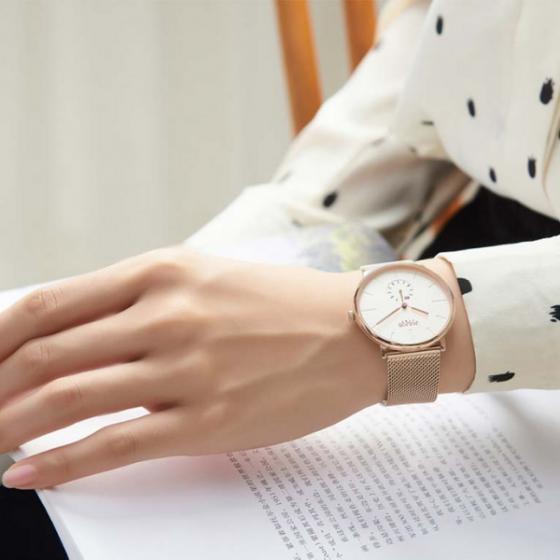 Đồng hồ nữ dây kim loại mặt kính saphire chính hãng Julius Star Hàn Quốc JS-043D Đen
