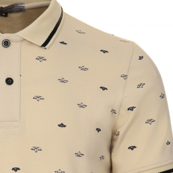 Áo thun nam họa tiết con thuyền phong cách thời trang pigofashion aht25 màu kem