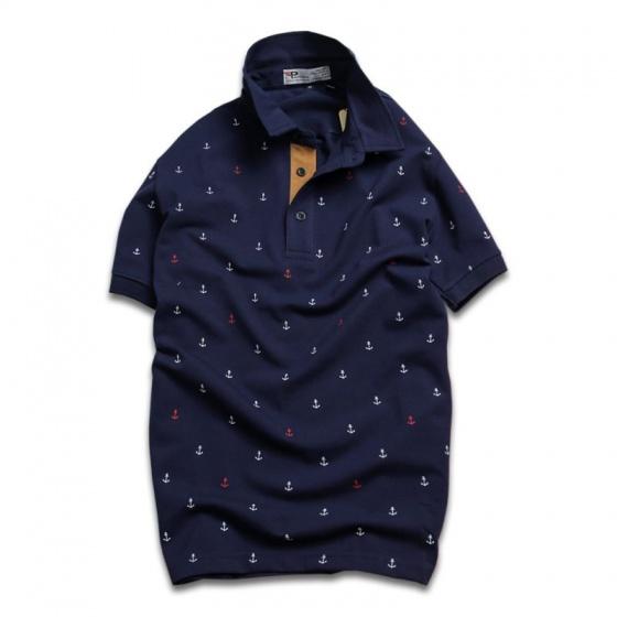 Áo thun nam cổ bẻ họa tiết mũi neo độc lạ chuẩn phong cách pigofashion aht24 màu xanh đen