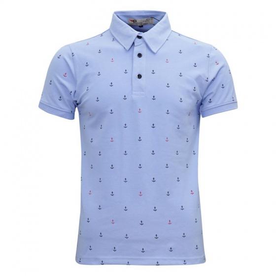 Bộ 3 áo thun nam cổ bẻ họa tiết mũi neo độc lạ chuẩn phong cách pigofashion aht24 xanh biển, trắng, xanh đen