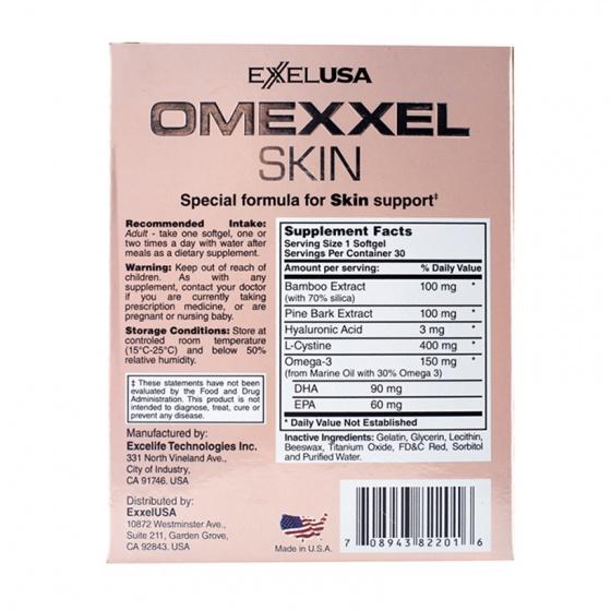 Combo viên uống trắng da, giảm thâm nám Omexxel Skin 60 viên - tặng 2 mặt nạ 3w clinic Hàn Quốc