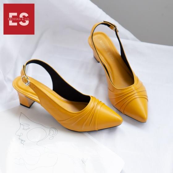Giày nữ, giày cao gót thời trang Erosska mũi nhọn, phối họa tiết đơn giản cao 5 cm EH029 (màu vàng)