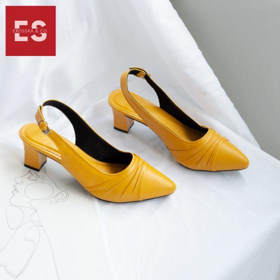 Giày nữ, giày cao gót thời trang Erosska mũi nhọn, phối họa tiết đơn giản cao 5 cm EH029 (màu đen)