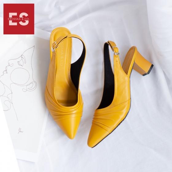Giày nữ, giày cao gót thời trang Erosska mũi nhọn, phối họa tiết đơn giản cao 5 cm EH029 (màu nude)