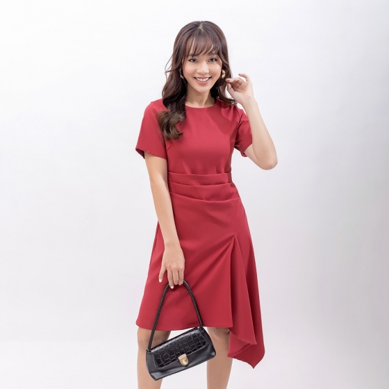 Váy đầm công sở thời trang Eden xếp li eo - D402