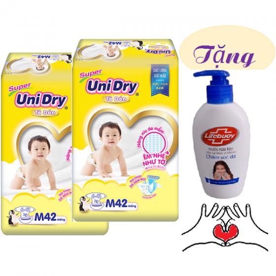 Tặng 1 nước rửa tay sạch khuẩn- Combo 2 gói tã dán (G6+) Unidry size M42 - size L38 - size XL34