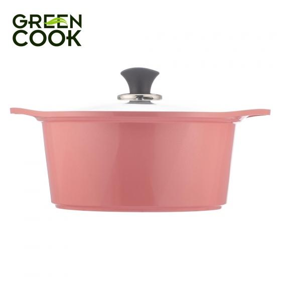 Nồi đúc ceramic vân đá đáy từ 24cm Green Cook GCS02-24IH