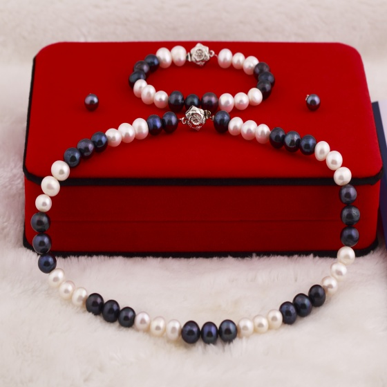 Bộ ngọc trai trắng đen Opal POTD6-03