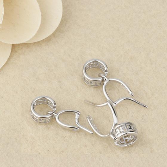 Khoen bạc móc mặt dây chuyền phật, tỳ hưu, hồ ly JK201(kiểu 1) - Ngọc Quý Gemstones