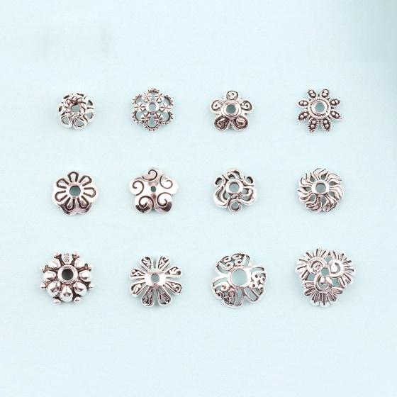 Charm bạc chụp hạt họa tiết hoa văn lá 8 cánh - Ngọc Quý Gemstones