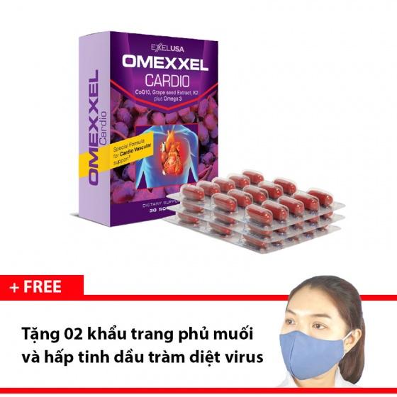 Viên uống hỗ trợ tim mạch Omexxel Cardio Hộp 30 viên - Tặng 2 khẩu trang hấp tinh dầu tràm [QC-Vneshop]