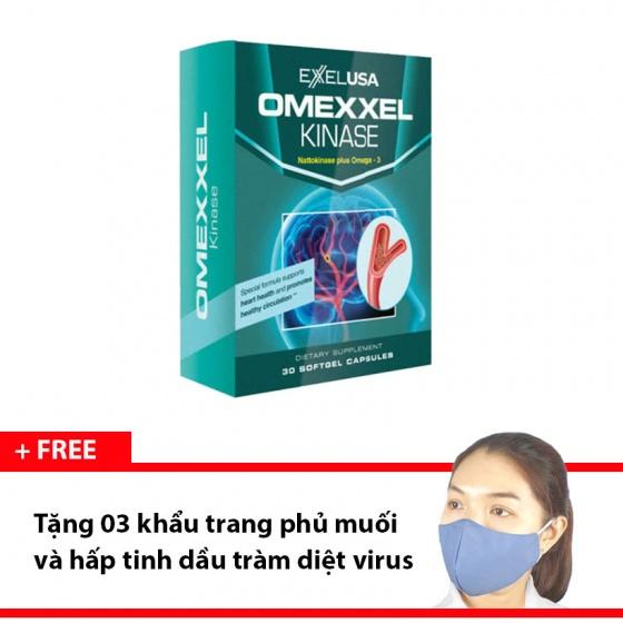 Viên uống tan huyết khối, cải thiện tuần hoàn máu Omexxel Kinase + Tặng 3 khẩu trang hấp tinh dầu tràm [QC-Vneshop]