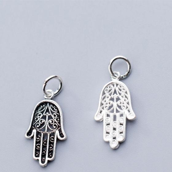Charm bạc hình bàn tay hamsa treo (bạc trắng)- Ngọc Quý Gemstones