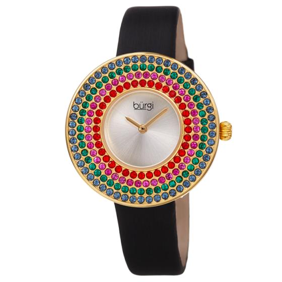 Đồng hồ thời trang nữ Burgi BUR270YG mặt phối đá swarovski bốn màu dây da 36mm