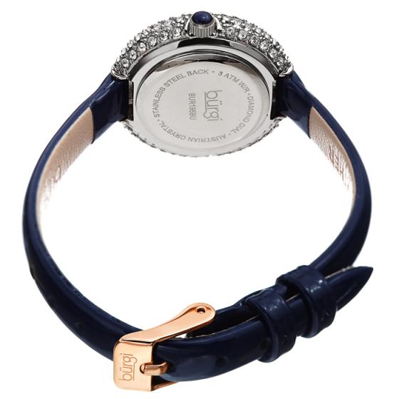 Đồng hồ thời trang nữ Burgi BUR195BU mặt viền đá swarovski nhỏ xinh dây da 29mm