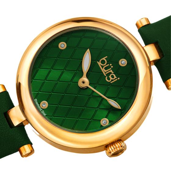 Đồng hồ thời trang nữ Burgi BUR196GN màu xanh mặt số đan chéo độc đáo dây da 32mm