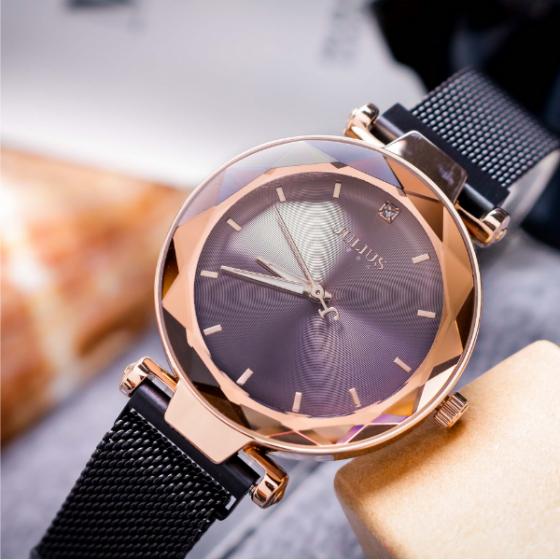 Đồng hồ nữ dây khóa nam châm chính hãng Julius Hàn Quốc JA-1166E