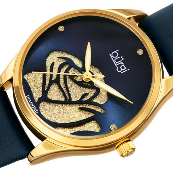 Đồng hồ thời trang nữ Burgi BUR189BU xanh dương họa tiết hoa hồng cut-out lấp lánh dây da 34mm