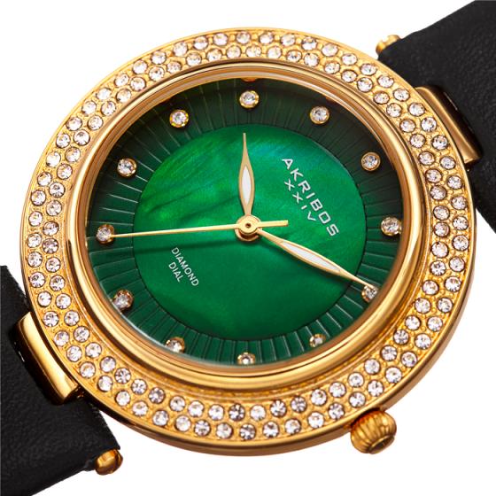 Đồng hồ thời trang nữ Akribos AK1008BKGN mặt xanh viền đá dây da 36mm