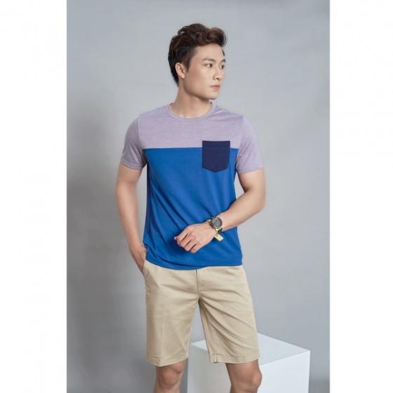 Áo phông nam ngắn tay ( regularfit) màu xanh ghi DGC- SAT1902M