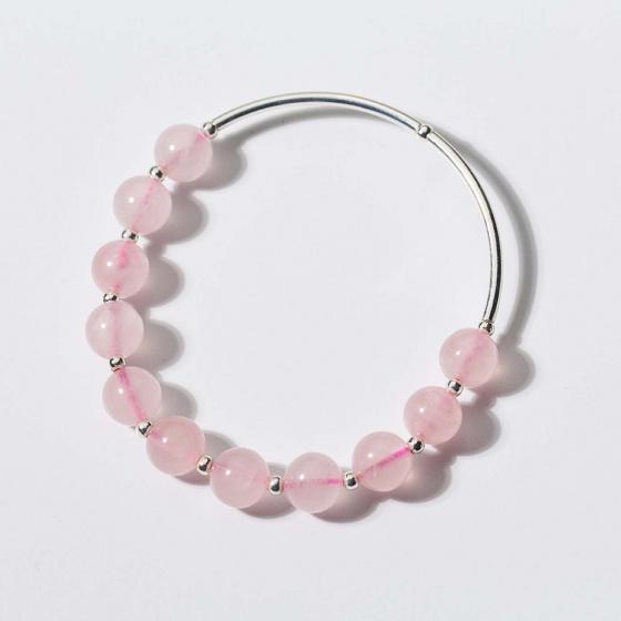 Vòng tay đá thạch anh hồng phối 2 ống bạc mệnh hỏa, thổ - Ngọc Quý Gemstones