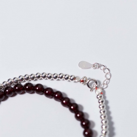 Vòng 2 line đá Garnet phối pha lê trắng mệnh hỏa, thổ - Ngọc Quý Gemstones