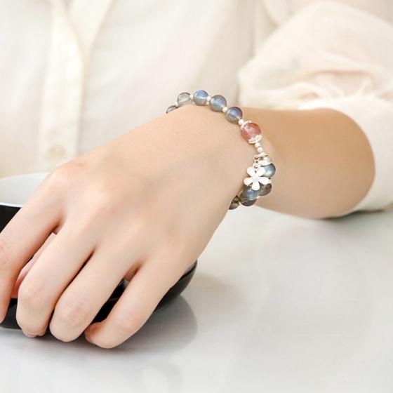Vòng tay đá xà cừ phối charm hoa bạc mệnh thủy, kim- Ngọc Quý Gemstones