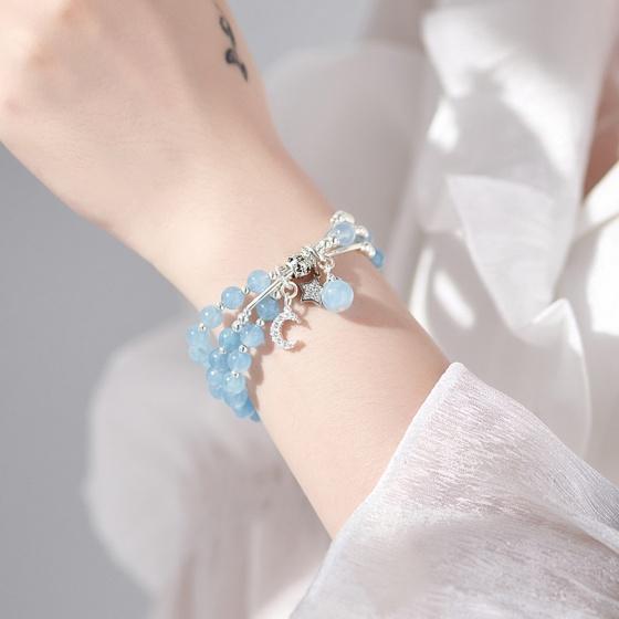 Vòng tay 3 line đá aqumarine charm bạc mệnh thủy, mộc - Ngọc Quý Gemstones